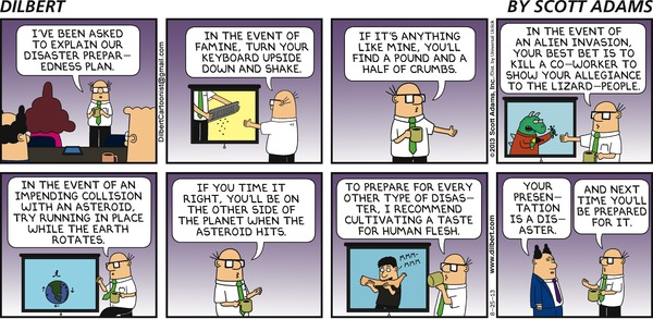 Dilbert on Disaster Preparedness Plan
